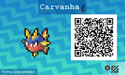 carvanha qr codes pokémon sun and moon walkthrough